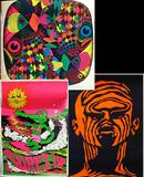 3 Vintage Original Psychedelic Black Light Posters