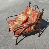 Metal Frame Collapsible Lounge Chair with Bark Cloth Inspired Pillows