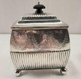 1888 John Newton Mappin of Mappin & Web London Sterling Silver Reeded Tea Caddy