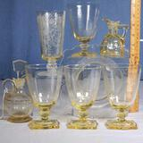 7 Pcs Heisey Sahara Glass Incl, 4 Carcassonne 5 3/8
