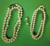 2 Kokichi Mikimoto Cultured Pearl Necklaces & 14k Yellow Gold Backed Stud Earrings