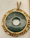14K yellow Gold Framed Jade Pi Stone