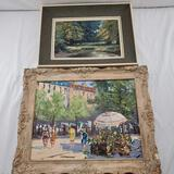 2 Framed Mid Century Modern Oil Paintings