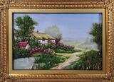 Mixed Media Shadow Box Frame Cottage Landscape with 3-D Elements