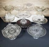 Collection of 11 EAPG Cake Plates & Compotes