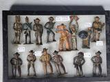 Case of 14 Grey Metal Cast Iron Cowboys, Indians, Toy Soldiers and More