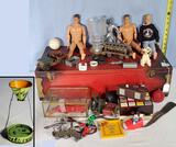 Case Misc Toys with Action Figures, Erector Set, 3-D Tru Vue Set, Plastic Cars and More