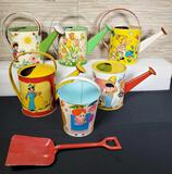 5 Vintage Tin Litho Watering Cans & Sand Bucket w/ Shovel