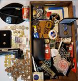 Case Lot of Military, Fraternal, Varsity Patches, Foreign Coins and more