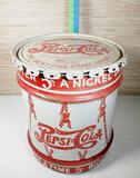 Vintage 10 Gallon Metal Pepsi-Cola Soda Syrup Drum w/ Lid