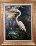 J Cowan Oil on Canvas Painting of White Heron