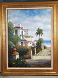 JC Seo Oil on Canvas Painting of Floida Architrctural Beach Landscape