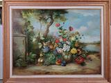Exterior Fruit and Floral Still Life Oil on Canvas Painting by W Richard