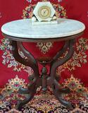 Oval Walnut Table with Marble Top & Art Deco Alabaster Electric Clock