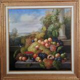 Exterior Still Life Oil on Canvas Painting of Fruit by Schrater
