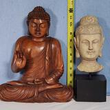 Carved Wooden Buddha Statue and Resin Cast Buddha Head Mounted on Stand