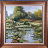 JC Seo Oil on Canvas of Waterlily Pond with Egrets