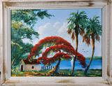 L Newton Florida Highwaymen Oil on Masonite of Royal Poinciana