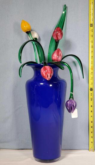 "Bryan Rubino 17"" Cobalt Art Glass Vase of Tulips"