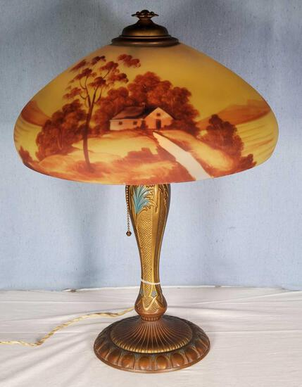 "Hand Painted Antique Lamp with 16"" Reverse Painted Landscape Glass Shade"