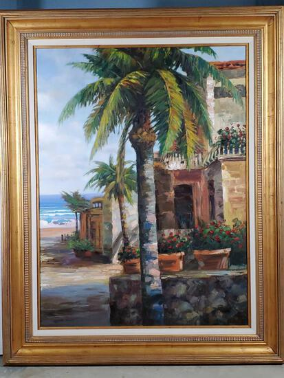 JC Seo oil on Canvas Florida Architectural Beach Landscape Painting