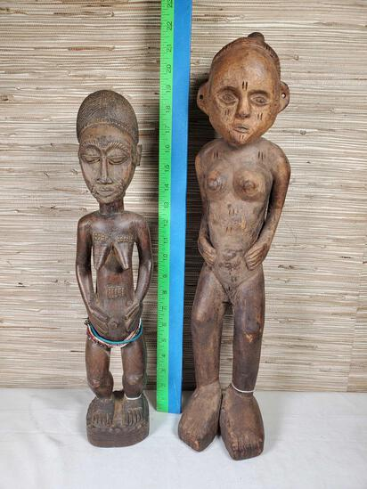 2 African Carved Wood Fertility Figures