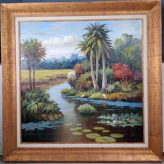 "40"" x 40"" Oil on Canvas of Natural Florida with Roseate Spoonbills"