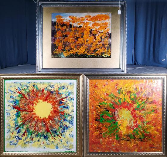 3 Retro Vintage Abstract Psychedelic Paintings by Igor Slavinski, Winthrop and Danial Porter