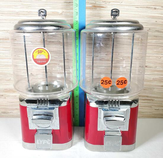 2 Counter Top Gumball Vending Machines with Keys