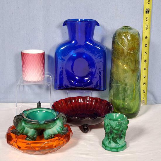7 Pcs. Mid-Century & Vintage Art Glass