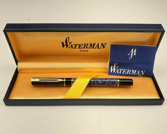 "Waterman ""Laureat"" Blue Gray Fountain Pen Paris With Original Case."