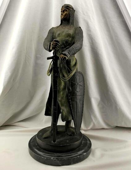 "23"" Maurice FAVRE (1875-1915) Bronze Sculpture Of ""Le Preux"" Knight's Templar Figure"