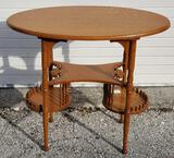 American Quarter Sawn Golden Oak Tiered Table in The Ball and Stick Style