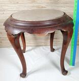 Asian Rosewood And Marble Low Round Stand
