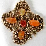 Julio De Diego (1900-1979) 14K Yellow Gold & 5 Jelly Opal Cabochons Pendent
