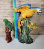 2 Ceramic Parrot Figurines