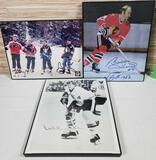 3 Autographed Photo Prints by NHL Greats Orr, Hull, Lindros, Kariya, Jagr, & Bure