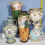 5 Nippon Porcelain Vases, Some As Is