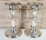 Pair of Weighted Sterling Silver Candlesticks with Sterling Bobeches with Crystals