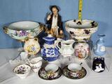 14 Pcs Decorative Porcelain Bowls, Cups and Saucers, Vases and More