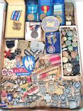 Large Lot of Vintage Military Medals, Buttons, Insignias, Patches, Etc.
