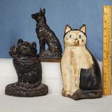 2 Cast Iron Cat Doorstops and Spelter German Shepherd Bookend