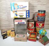 Collection of Vintage Advertising Tins, Banks, & More