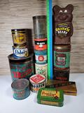 13 Vintage Advertising Tins & 1 Plastic Graham Cracker Container
