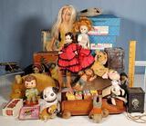 Steiff Animals, Madame Alexander Dolls, Block Wagon & Other Toys