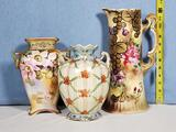 Nippon Porcelain Pitcher and Two Vases