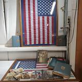 Lot Of USA Military WWII Veteran Scrap Books, Photos & 2 Framed USA Flags Flown Over USS Arizona