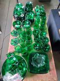 Approx. 100 Pcs. Vintage Green Glass Dishes incl. Anchor Hocking Charm