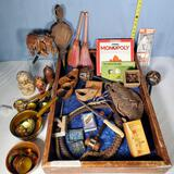 Tray lot of Ethnic Carvings, Games, Cards, Russian Lacquerware and More