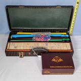 Vintage Mah Jongg Set and The Game Keeper Collection Double 9 Dominoes in Executive Box